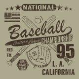 棒球体育印刷术,东部同盟洛杉矶,横渡的棒球batsand手套T恤杉打印设计图表剪影, 皇族释放例证