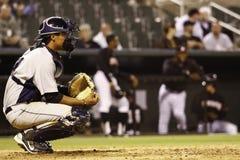 棒球俘获器复制手套空间 免版税库存图片