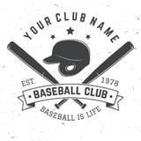 棒球俱乐部徽章 也corel凹道例证向量 衬衣的概念或商标、印刷品、邮票或者发球区域 库存照片