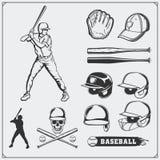 棒球俱乐部象征,标签和设计元素 棒球运动员、球、盔甲和棒 棒球运动员,盔甲,手套 皇族释放例证