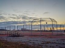 棒球公园在黎明 免版税库存照片