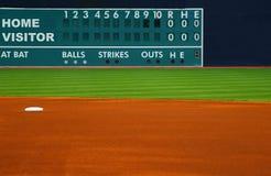 棒球减速火箭的记分牌 库存照片