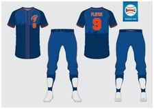 棒球制服,体育球衣, T恤杉体育,短小,袜子模板 棒球T恤杉嘲笑 前面和后面看法体育制服 免版税库存照片