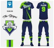 棒球制服,体育球衣, T恤杉体育,短小,袜子模板 棒球T恤杉嘲笑 前面和后面看法体育制服 向量例证