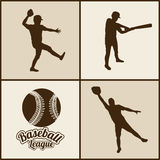 棒球剪影 图库摄影