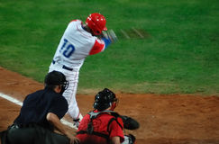 棒球加拿大古巴比赛 免版税库存图片
