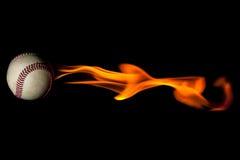 棒球发火焰 库存图片