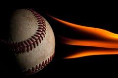 棒球发火焰 库存照片