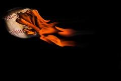 棒球发火焰 图库摄影