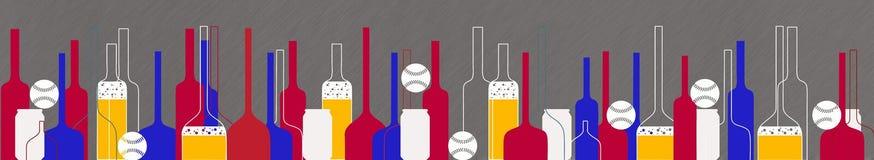 棒球和啤酒瓶和玻璃 免版税库存照片