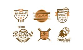 棒球商标集合,棒球比赛,体育队身分徽章在白色的传染媒介例证减速火箭的象征  向量例证