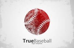 棒球商标 球设计 grunge 创造性的体育商标 库存照片