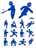 棒球图标球员集 免版税库存照片