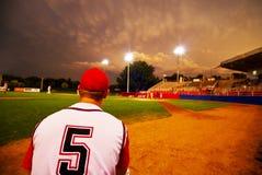 棒球夜间 库存图片