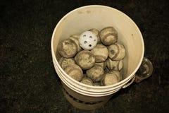 棒球实践桶 免版税库存图片