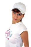 棒球帽女孩年轻人 免版税库存图片