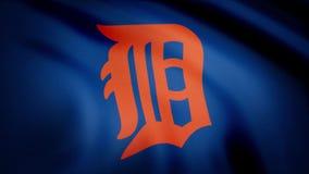 棒球底特律老虎美国职业棒球队商标的旗子,无缝的圈 社论动画 库存例证