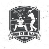 棒球或垒球俱乐部徽章 也corel凹道例证向量 衬衣的概念或商标、印刷品、邮票或者发球区域 免版税图库摄影