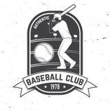 棒球或垒球俱乐部徽章 也corel凹道例证向量 衬衣的概念或商标、印刷品、邮票或者发球区域 免版税库存图片