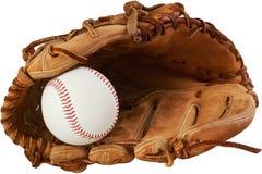 棒球手套和球 库存照片