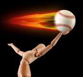 棒球抓住火焰人体模型加速 免版税图库摄影