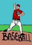 棒球投掷者 皇族释放例证