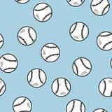 棒球无缝的样式 逗人喜爱的在蓝色背景纹理瓦片的乱画手拉的棒球 皇族释放例证