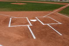 棒球本垒板和面团` s箱子 库存照片