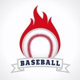 棒球火商标 免版税库存图片