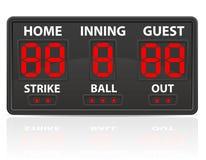 棒球炫耀数字式记分牌传染媒介例证 免版税库存照片