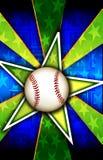 棒球破裂了绿色星形 库存照片