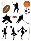 棒球篮球橄榄球曲棍球足球 免版税库存照片