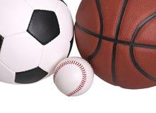 棒球篮球足球 免版税库存图片