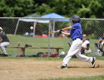 棒球联盟小球员 免版税库存照片