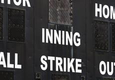 棒球记分牌 免版税库存照片