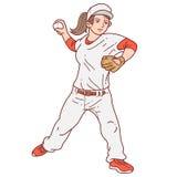 棒球运动员投手妇女 向量例证
