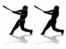 棒球运动员的剪影,传染媒介凹道 库存图片