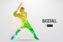 棒球运动员的剪影 也corel凹道例证向量 免版税库存图片