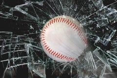 棒球通过玻璃 库存图片