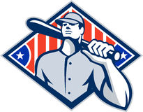 棒球面团击球手减速火箭棒的肩膀 免版税图库摄影