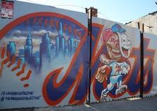 棒球题材墙壁上的艺术在东部威廉斯堡在布鲁克林 免版税库存图片