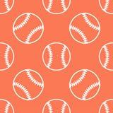 棒球,垒球体育比赛传染媒介无缝的样式,与线球象的橙色背景  线性标志为 免版税库存图片