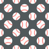 棒球,垒球体育比赛传染媒介无缝的样式,与线球象的背景  线性标志为 免版税库存图片