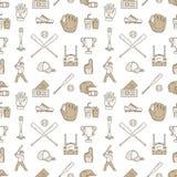 棒球,垒球体育比赛传染媒介无缝的样式,与线球,球员,手套,棒,盔甲象的背景  库存例证