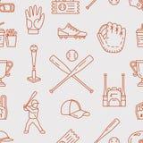 棒球,垒球体育比赛传染媒介无缝的样式,与线球,球员,手套,棒,盔甲象的背景  皇族释放例证