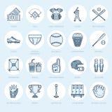 棒球,垒球体育比赛传染媒介线象 球棒,领域,盔甲,投的机器,俘获器面具 线性标志 免版税库存图片