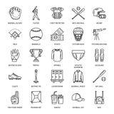 棒球,垒球体育比赛传染媒介线象 球,棒,领域,盔甲,投的机器,俘获器面具 线性标志 皇族释放例证