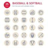 棒球,垒球体育比赛传染媒介线象 球,棒,领域,盔甲,投的机器,俘获器面具 线性标志 库存例证