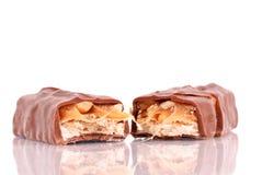 棒耐嚼的巧克力一半 库存照片