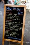 棒菜单西班牙语 库存照片